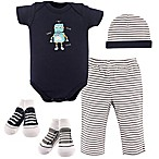 Hudson Baby® 5-Piece Robot Layette Set in Navy