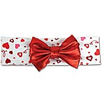 Tiny Treasures Valentine Hearts and Bow Head Wrap in Red