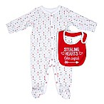 "Sterling Baby Size 9M ""Stealing Hearts Like Cupid"" 2-Piece Bib and Footie Set in Red/Grey"