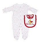 "Sterling Baby Size 3M ""My 1st Valentine's Day"" 2-Piece Bib and Footie Set in Red/Pink"
