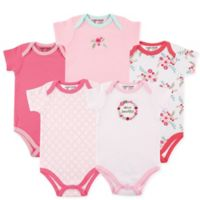 Luvable Friends® Size 9-12M 5-Pack Floral Short Sleeve Bodysuits in Light Pink