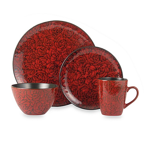 222 fifth dinnerware crimson roses 16 piece set bed bath for 222 fifth dinnerware