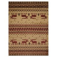 United Weavers Embroidered Moose 2' x 4' Accent Rug in Natural