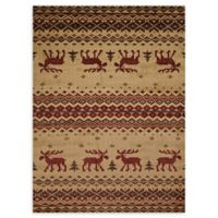 United Weavers Embroidered Moose 5' x 8' Area Rug in Natural