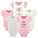 "Hudson Baby® Size 12-18M 5-Pack ""Heart of Gold"" Short Sleeve Bodysuits in Pink/Gold"