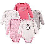 Hudson Baby® Size 0-3M 5-Pack Penguin Bodysuits in Pink
