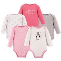 Hudson Baby® Size 18-24M 5-Pack Penguin Bodysuits in Pink