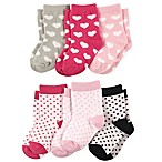 Luvable Friends® Size 0-6M 6-Pack Hearts Crew Socks