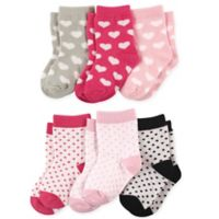 Luvable Friends® Size 12-24M 6-Pack Hearts Crew Socks