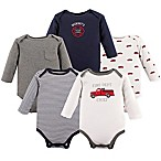 Hudson Baby® Size 0-3M 5-Pack Fire Trucks Long Sleeve Bodysuits in Red