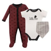 Hudson Baby® Size 6-9M 3-Piece Little Man Layette Set