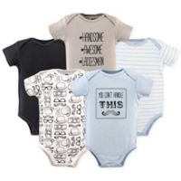 Hudson Baby® Size 12-18M 5-Pack Can't Handle Hanging Bodysuits in Black