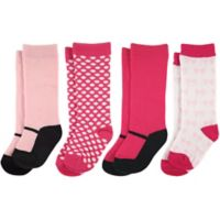 Luvable Friends® Size 6-12M 4-Pack Mary Jane Knee High Socks in Pink