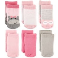 Luvable Friends® Size 6-12M 6-Pack Hippo & Owl Terry Crew Socks