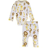 MiracleWear® Size 6-12M 2-Piece Snap 'n Grow Giraffe Bodysuit and Pant Set in Gold