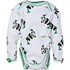 MiracleWear® Size 0-6M Snap 'n Grow Long Sleeve Panda Bodysuit in Green