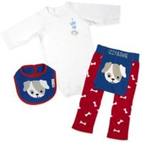 Izzy & Owie Size 12-24M 3-Piece Puppy Long Sleeve Bodysuit, Legging and Bib Set in Blue