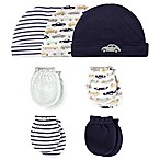 Hudson Baby® Size 0-6M 7-Piece Cars Cap and Mitten Set in Blue