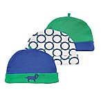 Yoga Sprout Size 0-6M 3-Pack Dog Caps in Blue/Green
