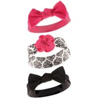 Yoga Sprout Size 0-24M 3-Pack Damask Headbands in Black