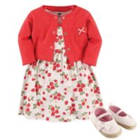 Hudson Baby® Size 12-18M 4-Piece Strawberries Dress, Cardigan and Shoe Set in Red