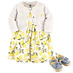 Hudson Baby® Size 0-3M 4-Piece Lemons Dress, Cardigan and Shoe Set in Yellow