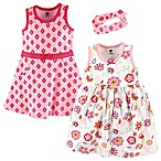Hudson Baby® Size 9-12M 3-Piece Floral Dress and Headband Set