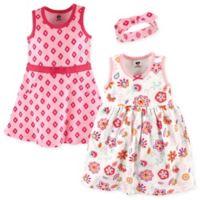 Hudson Baby® Size 6-9M 3-PieceFloral Dress and Headband Set