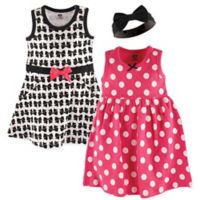 Hudson Baby® Size 18-24M 3-Piece Bows Dress and Headband Set