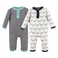 Hudson Baby® Size 6-9M 2-Pack Whales Union Suits
