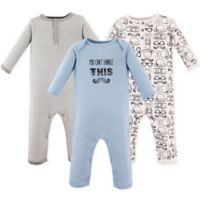 Hudson Baby® Size 12-18M 3-Pack Mustache Long Sleeve Union Suits