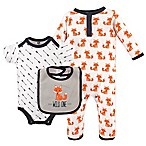 Hudson Baby® Size 0-3M 3-Piece Fox Union Suit, Bodysuit and Bib Set