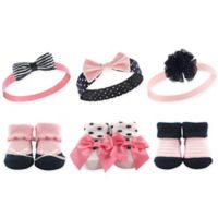 Hudson Baby® Size 0-9M 6-Pack Baby Headband and Socks Set in Navy/Pink