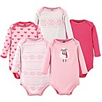 Hudson Baby® Size 6-9M 5-Pack Long Sleeve Sheep Bodysuits in Pink