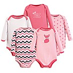 Luvable Friends® Size 3-6M 5-Pack Foxy Long Sleeve Bodysuits in Dark Pink