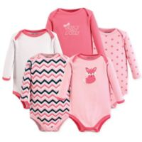 Luvable Friends® Size 9-12M 5-Pack Foxy Long Sleeve Bodysuits in Dark Pink