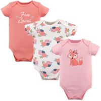 "Hudson Baby® Size 0-3M 3-Pack Short Sleeve ""Free Spirit"" Bodysuits in Pink"