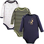 Luvable Friends® Size 6-9M 3-Pack Deer Long Sleeve Bodysuits