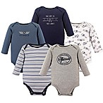 Hudson Baby® Size 3-6M 5-Pack Co-Pilot Long Sleeve Bodysuits