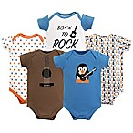 Luvable Friends Size 6-9M 5-Pack Guitar Short Sleeve Bodysuits