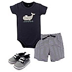 Hudson Baby® Size 6-9M 4-Piece Whale Bodysuit, Short, and Shoe Set in Blue