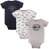 Hudson Baby® Size 6-9M 3-Pack Short Sleeve Sky Bodysuits