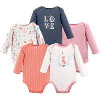 Hudson Baby® Size 0-3M 5-Pack Woodland Fox Long Sleeve Bodysuits
