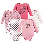 Hudson Baby® Size 9-12M 5-Pack Boho Elephant Long Sleeve Bodysuits in Pink