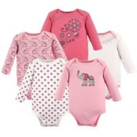 Hudson Baby® Size 18-24M 5-Pack Boho Elephant Long Sleeve Bodysuits in Pink