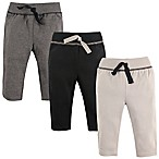 Hudson Baby® Size 0-3M 3-Pack Track Pants in Black/Grey