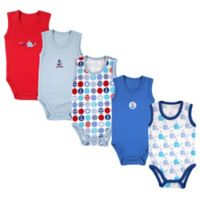 Luvable Friends Size 12-18M 5-Pack Nautical Sleeveless Bodysuits in Blue