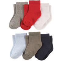 Luvable Friends™ Size 12-24M 6-Pack Boys Solid Crew Socks
