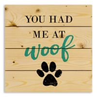 """Designs Direct """"You Had Me at Woof"""" 14-Inch Square Pallet Wood Wall Art"""