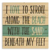 Designs Direct Stroll Along the Beach 21-Inch Square Pallet Wood Wall Art